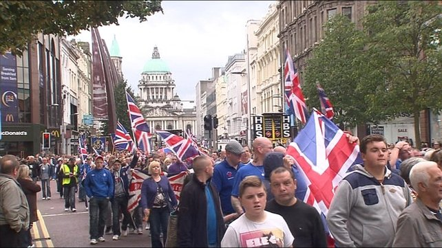 It was part of ongoing protests over the Union flag issue and the re-routing Orange Order parades