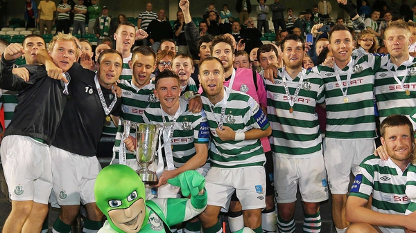Shamrock Rovers celebrate their first League Cup win since 1977