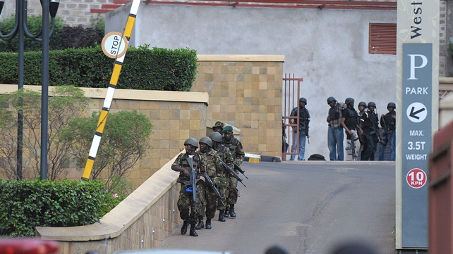Suspected terrorists engaged Kenyan security forces in a drawn out gun fight at the mall