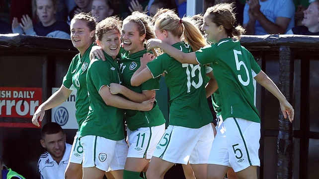 Julie-Anne Russell celebrates her goal with her Ireland team-mates