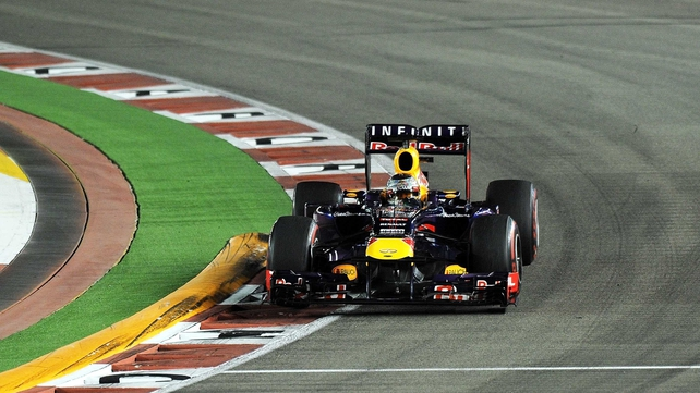 Sebastian Vettel winning his third successive Singapore Grand Prix