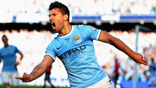 Sergio Aguero scored Manchester City's opener in the Manchester derby