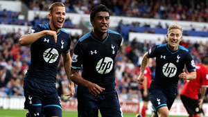 Paulinho celebrates his stoppage time winner for Spurs against Cardiff City