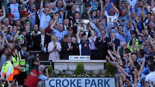 Dublin Stephen Cluxton lifts the Sam Maguire trophy