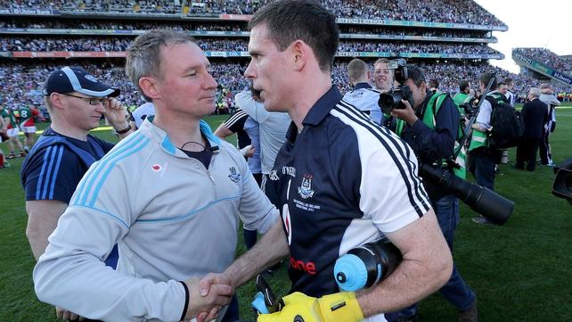 Jim Gavin congratulates his captain Stephen Cluxton after Dublin claimed a 24th All-Ireland title