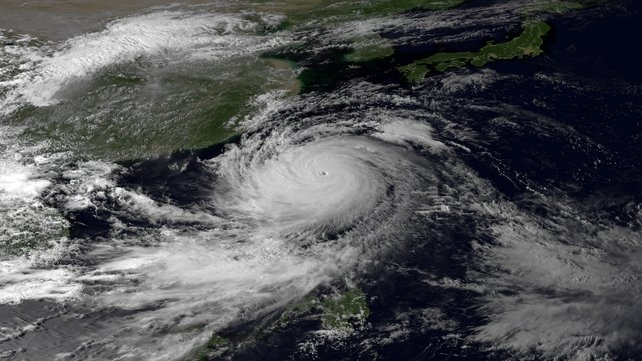Super Typhoon Usagi heads west-northwest on September 20 between the Philippines and Taiwan through the Luzon Strait (Picture: Japan Meteorological Agency/National Oceanic and Atmospheric Administration)