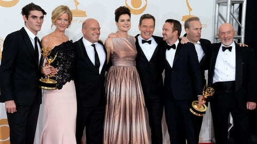 Betsy Brandy with the cast of Breaking Bad at the Emmys 2013