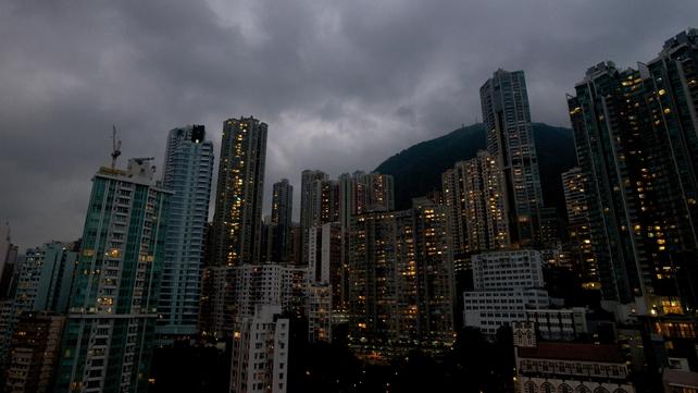 Dark skies over Hong Kong's CBD last night