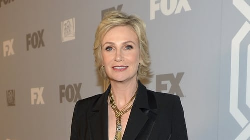 Jane Lynch paid tribute to her former co-star Cory Monteith at the Emmys