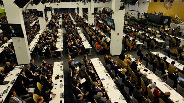 Delegates at the 68th session of the United Nations General Assembly at the United Nations in New York