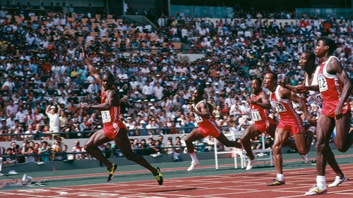 Canadian sprinter Ben Johnson in 100 metres final at the Seoul Olympics, 24 September 1988