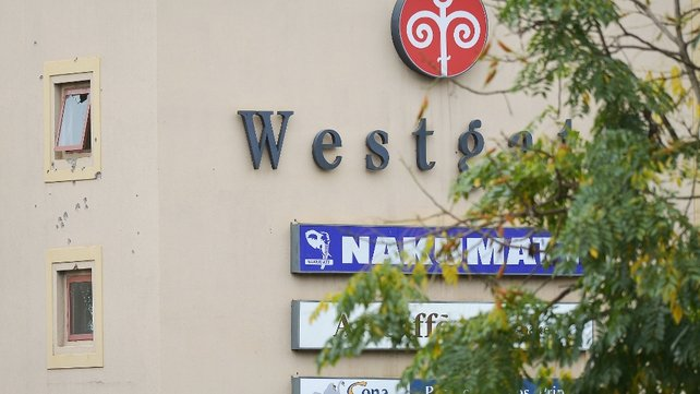 Bullet holes are seen outside the Westgate Shopping Mall in Nairobi