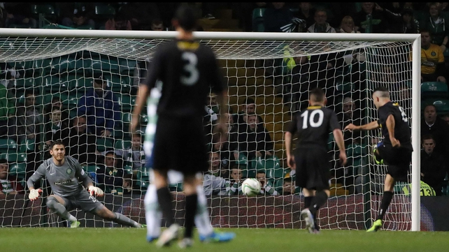Morton's Dougie Imrie scores an extra-time penalty to beat Celtic at Parkhead (Pic: PA Wire)