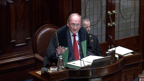 Ceann Comhairle Sean Barrett suspended the Dáil after rowdy exchanges