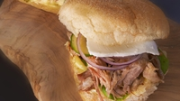 Pulled Lamb Toasted Baps - A tasty snack from Rachel Allen.