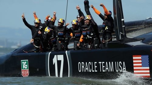 Oracle Team USA celebrate their victory