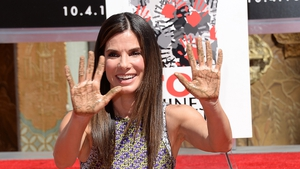 Sandra Bullock at yesterday's hand and footprint ceremony in Hollywood