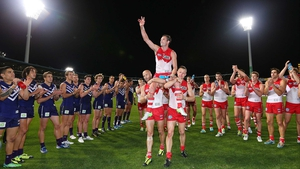 Jude Bolton of the Swans gets carried off for his last game after the AFL match between the Fremantle Dockers and the Sydney Swans at Patersons Stadium Perth, Australia.