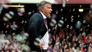 West Ham manager Sam Allardyce, bubbles, Upton Park, London.