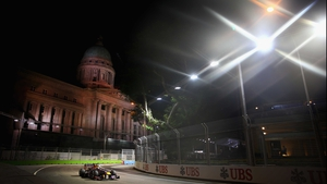 Sebastian Vettel of Red Bull racing during practice for the Singapore Grand Prix at Marina Bay Street Circuit.