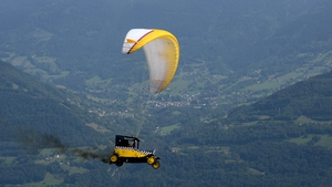 A paraglider competes in Saint-Hilaire-du-Touvet, southeastern France, during the 40th edition of the Icare cup