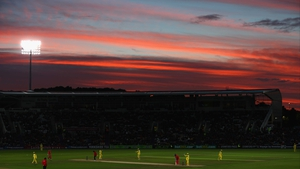 Sunset during the ODI between England and Australia at the Ageas Bowl in Southampton, England.