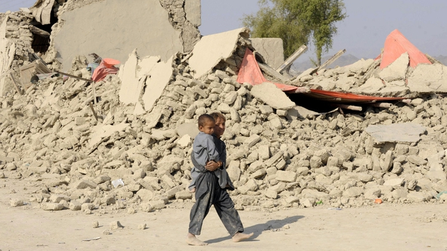 The earthquake destroyed houses in the worst affected district of Awaran