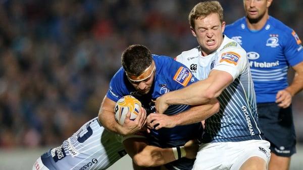 Leigh Halfpenny and Owen Williams tackle Fergus McFadden