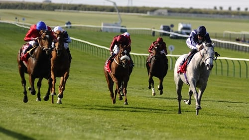 Sky Lantern surges clear of her rivals on the the Rowley Mile