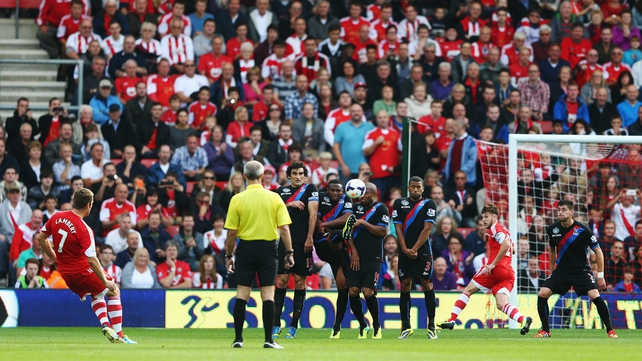 Rickie Lambert of Southampton scores from a free-kick during the Barclays Premier League match between Southampton and Crystal Palace