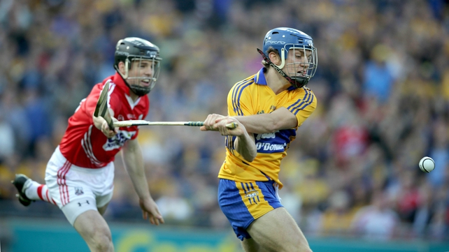 Clare's Shane O'Donnell found the back of the Cork net with this effort