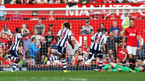 Saido Berahino (left) of West Brom wheels away in delight having just scored what proved to be the winner at Old Trafford