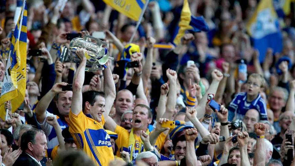 Pat Donnellan hoists the Liam McCarthy cup aloft