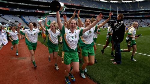 Offaly's Siobhan Flannery leads her team-mates in the celebrations at Croke Park
