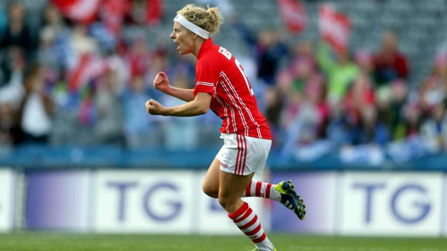 Valerie Mulcahy celebrates the Cork goal