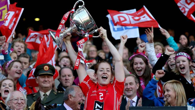 Cork's Ann Marie Walsh lifts the trophy