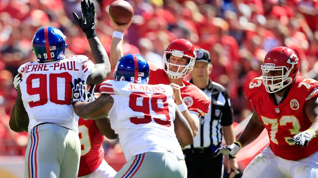 Kansas City Chiefs quarterback Alex Smith completed 24 of 41 passes in their win over the New York Giants