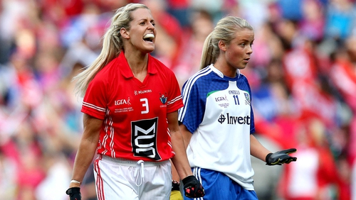 Bríd Stack in action against Tyrone
