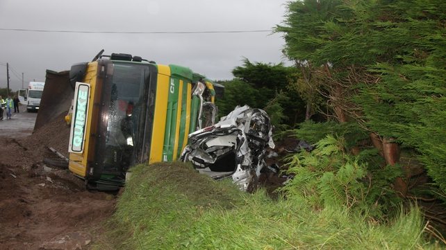 The victims' car collided with a truck at Cloon at 12.25pm this afternoon (Pic: Alan Landers - Kerry's Eye)