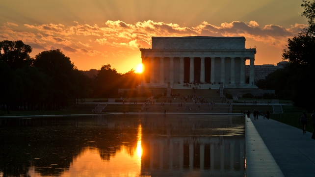 The sun sets over the Lincoln Memorial in Washington ahead of last night's deadline