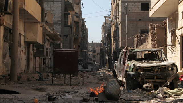 A destroyed street in Deir Ezzor - more than 41,000 civilians have died in the conflict
