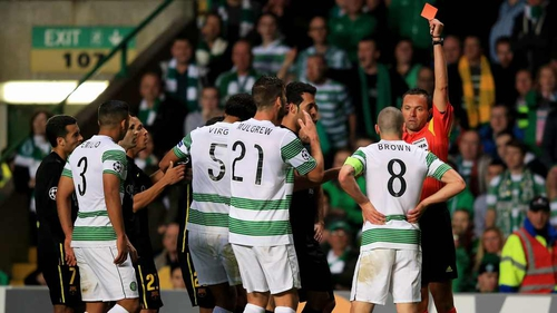 Scott Brown is sent off at Celtic Park