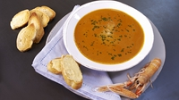 Prawn Bisque with Garlic Mayonnaise Croutons - Rachel Allen shares her recipe for a beautiful prawn bisque