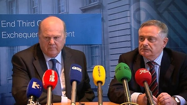 Ministers Michael Noonan and Brendan Howlin were speaking after the publication of the latest Exchequer returns