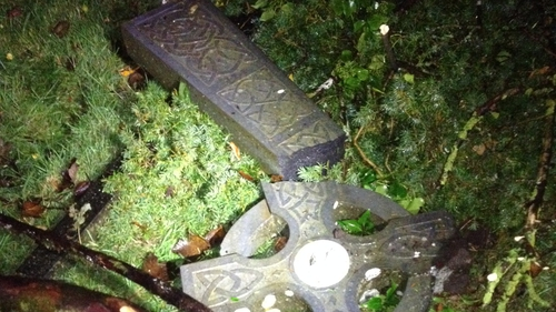 A number of gravestones were knocked over in the cemetery in Clonfert