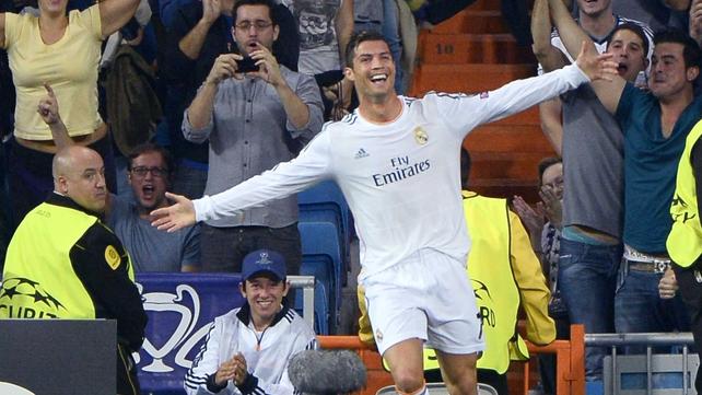 Cristiano Ronaldo celebrates his second goal for Madrid