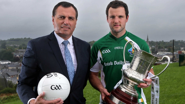 Ireland manager Paul Earley alongside his captain Michael Murphy at the International Rules series launch in Cavan