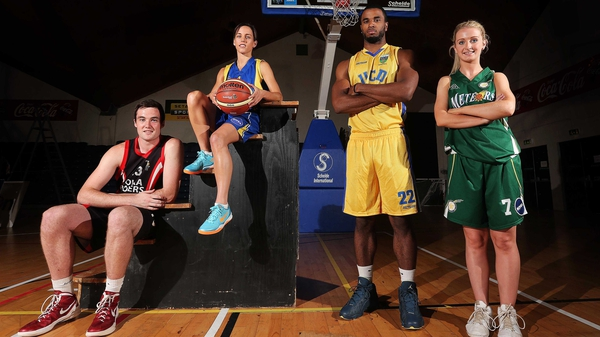 (L-R) Mark Blanchfield from Tolka Rovers, Catherine Fahy of UL Huskies, Terence King of UCD Demons and Beth Meany from Meteors