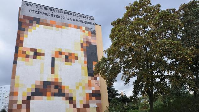 A mural of Lech Walesa