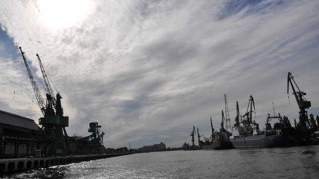 The view from a water taxi as it heads through the historic shipyard for the Westerplatte
